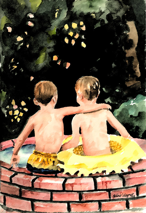Boys Painting - Buddies by Arline Wagner