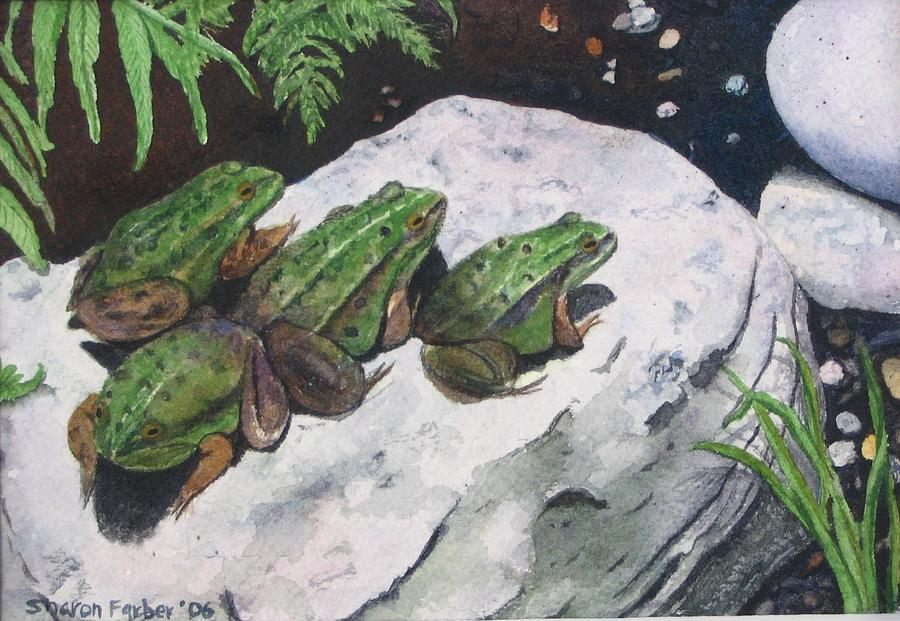 Frog Painting - Buddies by Sharon Farber