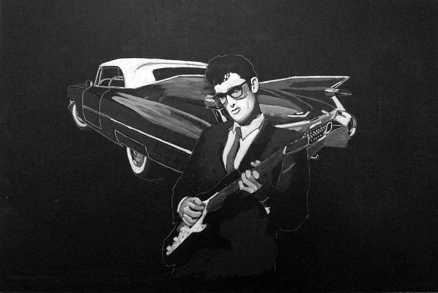 Car Painting - Buddy Holly And 1959 Cadillac by Richard Le Page