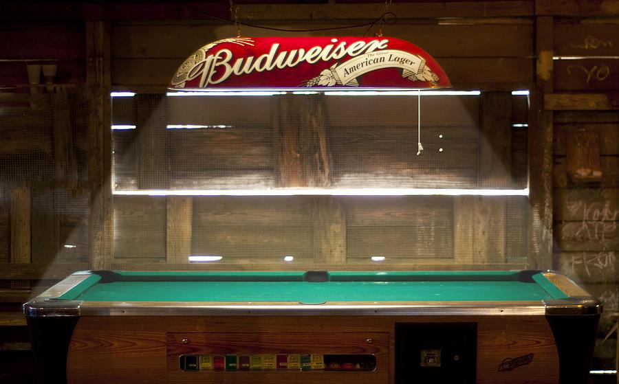 Pool Photograph - Budweiser Light Pool Table by Brian Kinney