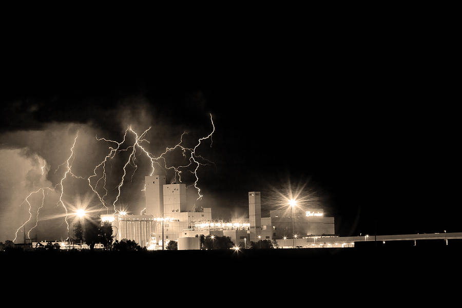 40d Photograph - Budweiser Lightning Thunderstorm Moving Out Bw Sepia by James BO  Insogna