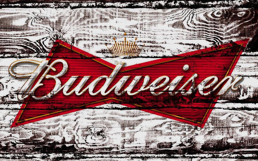 Budweiser Mixed Media - Budweiser Wood Art 5a by Brian Reaves