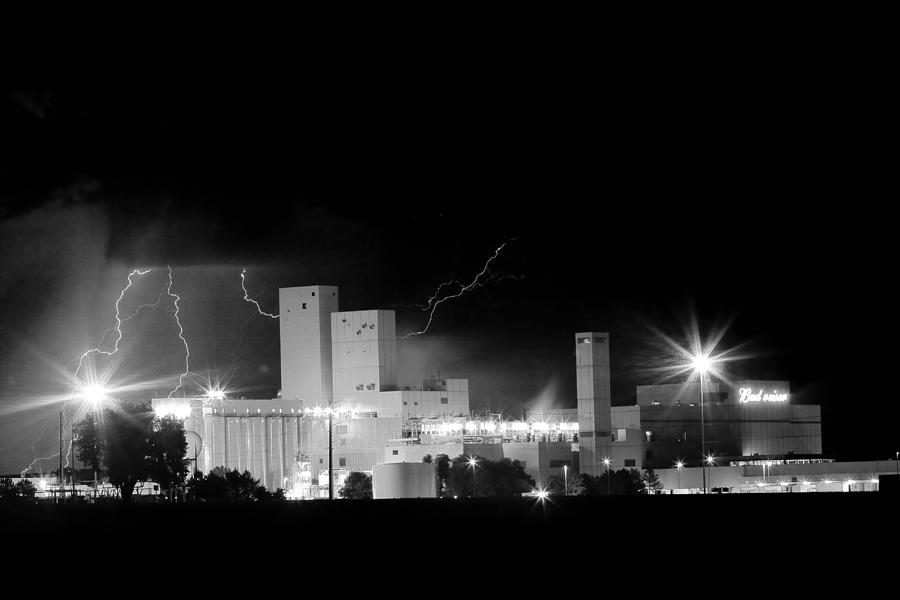 40d Photograph - Budwesier Brewery Lightning Thunderstorm Image 3918  Bw by James BO  Insogna