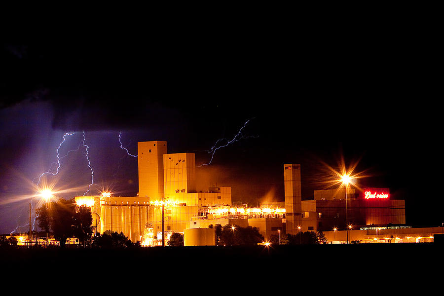 James Insogna Photograph - Budwesier Brewery Lightning Thunderstorm Image 3918 by James BO  Insogna