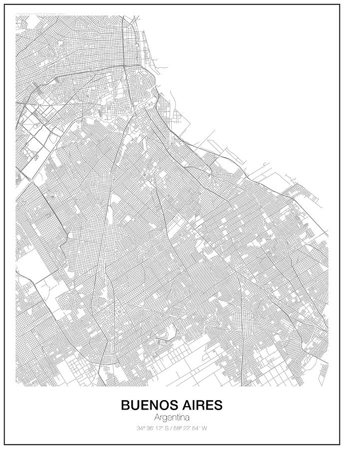 Buenos Aires Minimalist Map Digital Art by Lori Hinner