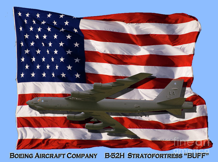 Boeing Photograph - Buff And Flag by Tim Mulina