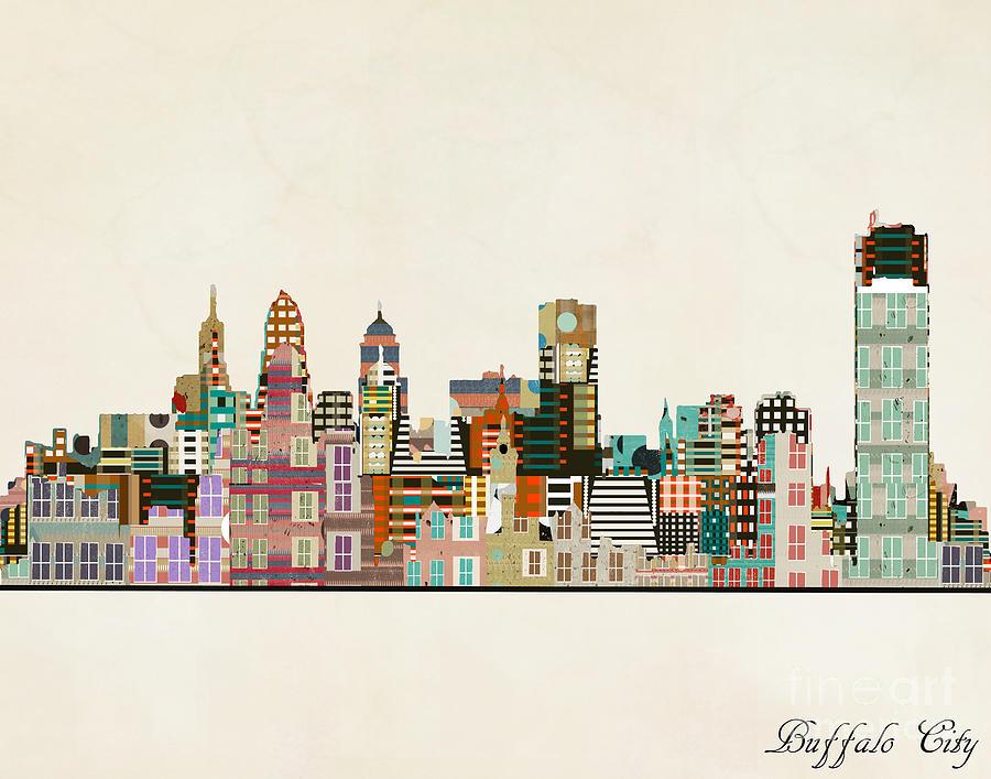 Buffalo City Painting - Buffalo City New York by Bri Buckley