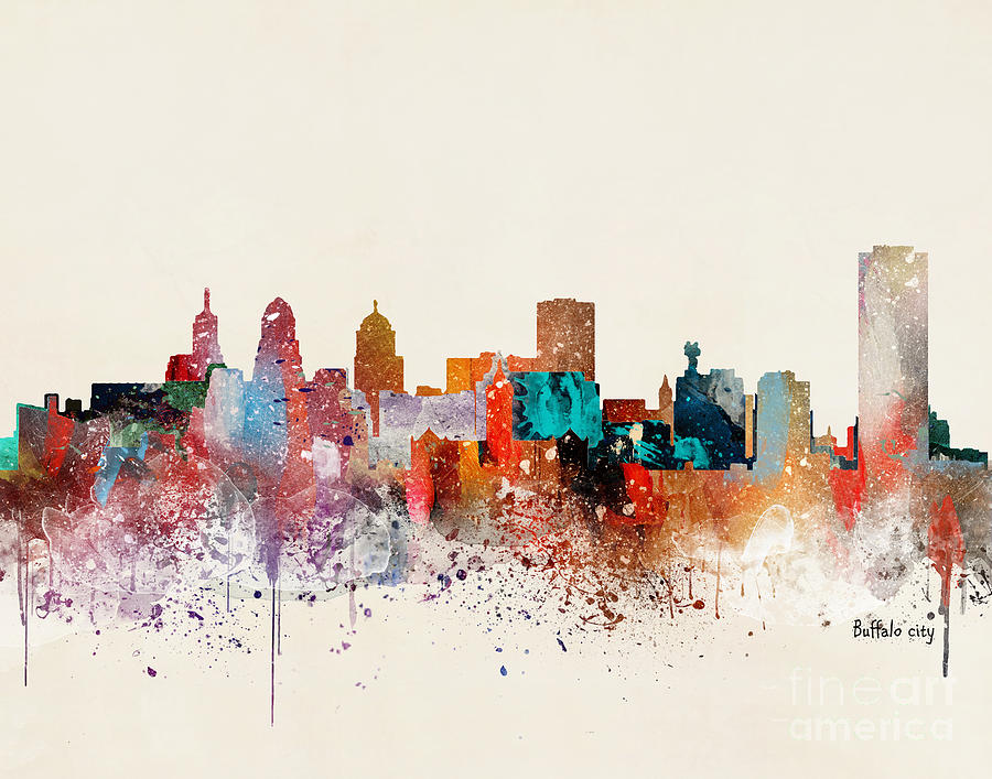 Buffalo New York Painting - Buffalo City Skyline by Bri Buckley