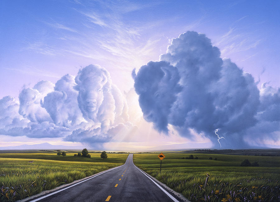 Buffalo Painting - Buffalo Crossing by Jerry LoFaro