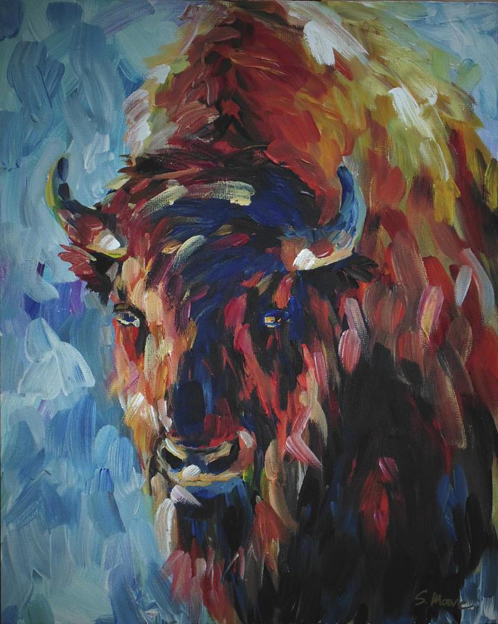 Buffalo Painting - Buffalo In Blue by Susan Moore