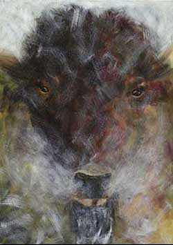 Bison Painting - Buffalo In Snow by Cherri Lamarr