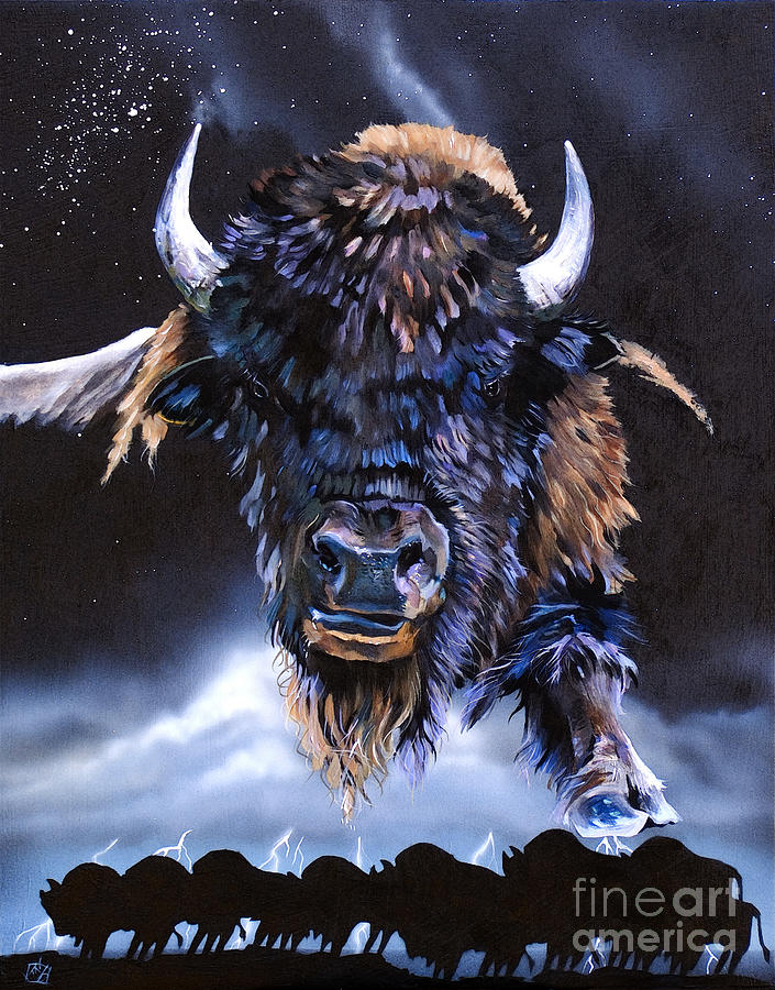 Buffalo Painting - Buffalo Medicine by J W Baker