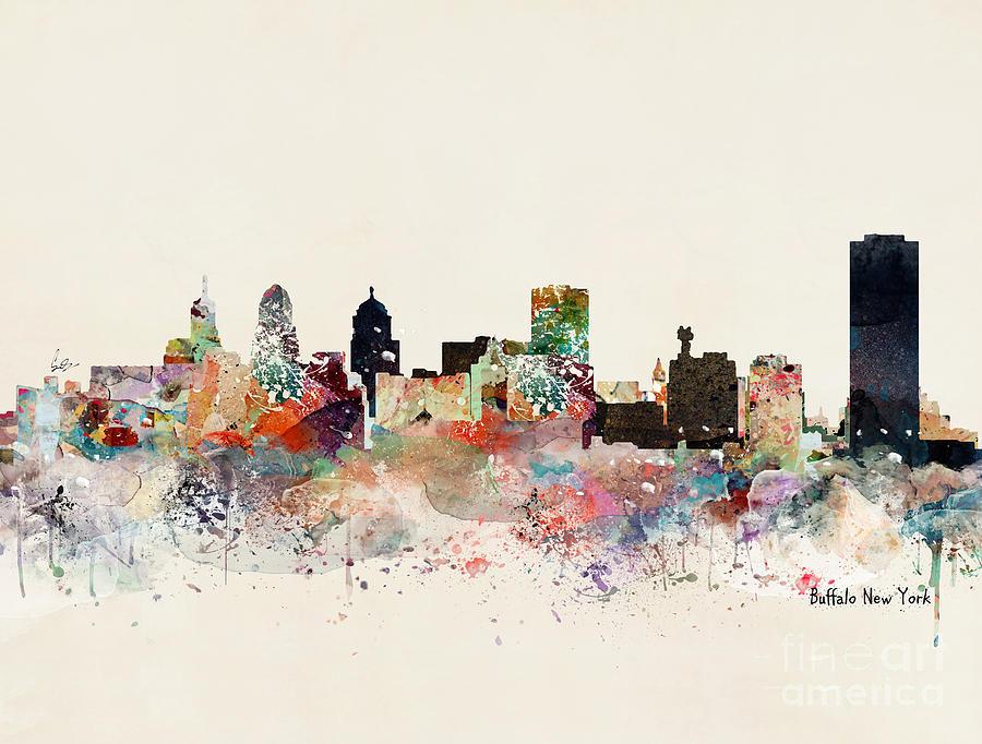 Buffalo New York Painting - Buffalo New York Skyline by Bri Buckley