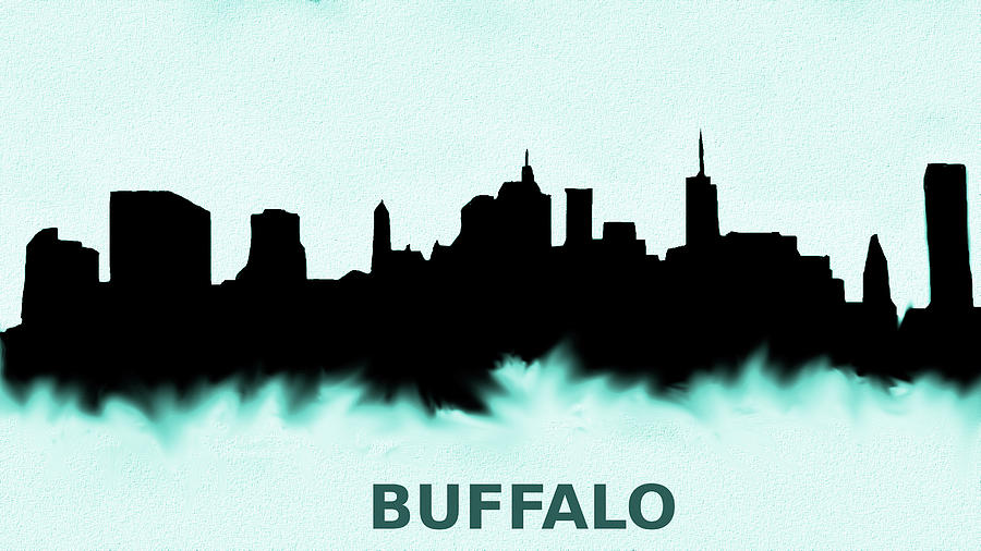 Buffalo New York Skyline Blue Painting By Enki Art