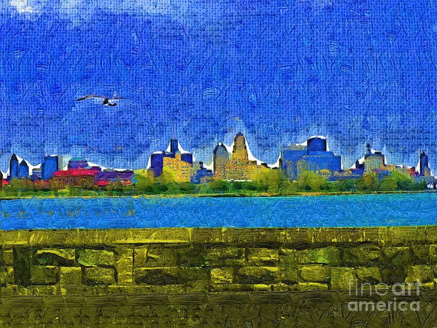 Skyline Painting - Buffalo Ny Skyline by Deborah MacQuarrie-Selib