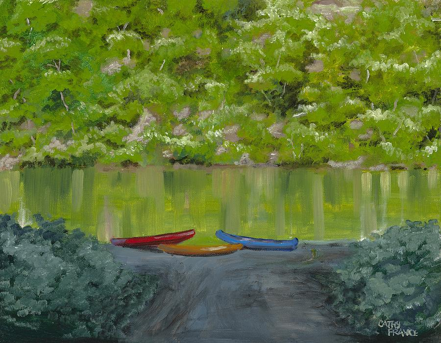 Canoeing Painting - Buffalo River At Gilbert Landing by Cathy France