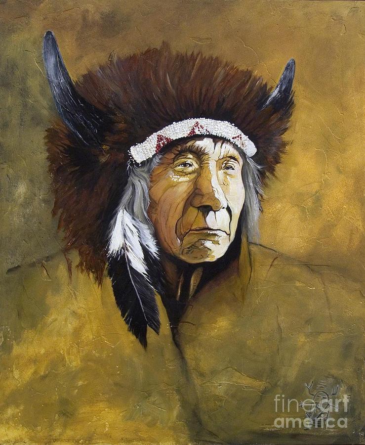 Shaman Painting - Buffalo Shaman by J W Baker