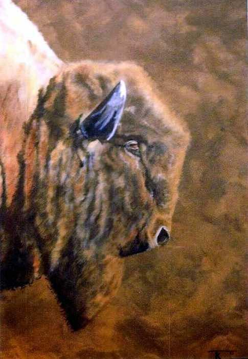 Bison Painting - Buffalo by Travis Kelley