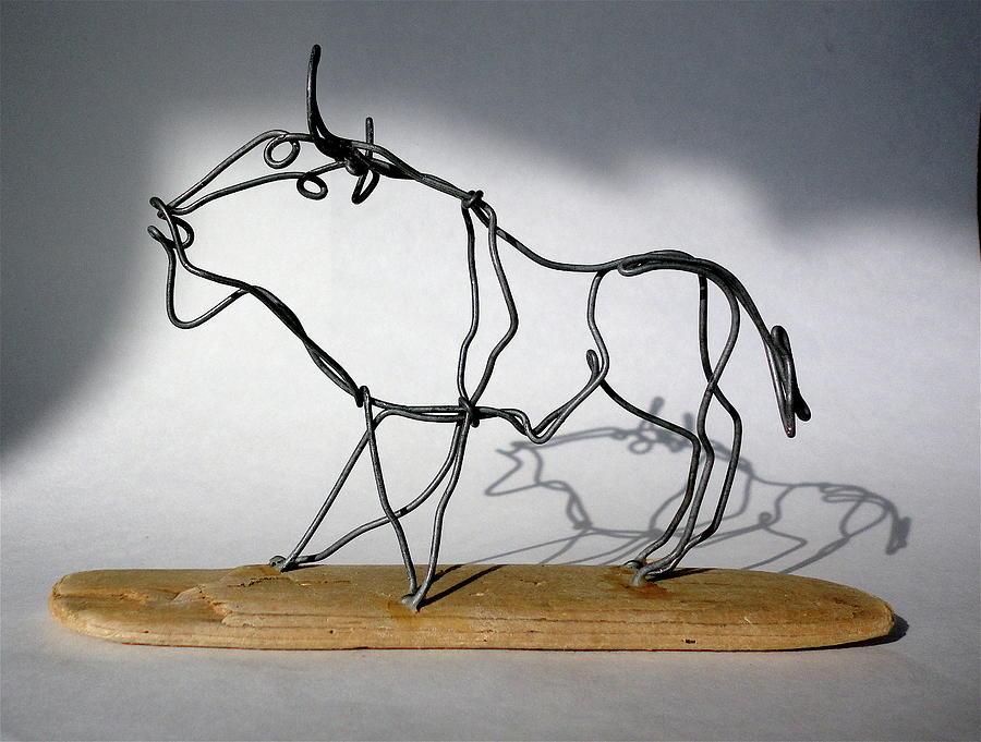 Buffalo Wire Sculpture Sculpture by Bud Bullivant