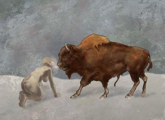 Drawing Digital Art - Buffalo Woman by Tom Durham