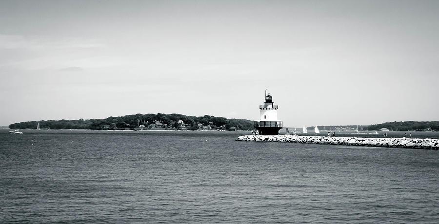Bug Light Lighthouse Black and White by Debra Forand