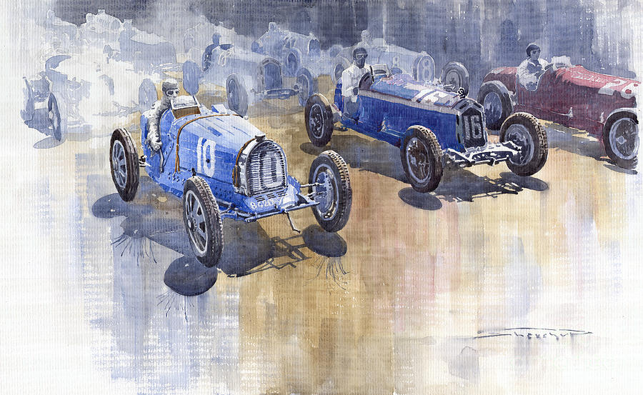 Watercolour Painting - Bugatti 51 Alfa Romeo 8c 1933 Monaco Gp by Yuriy  Shevchuk