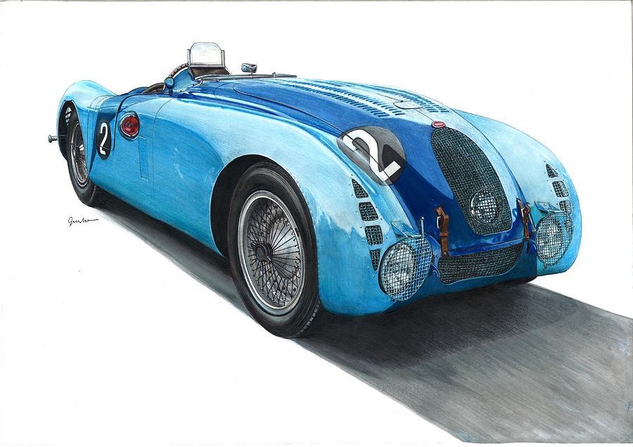 Bugatti 57g Tank 1937 Lemans Winner Drawing By Tomasz Boguslawski