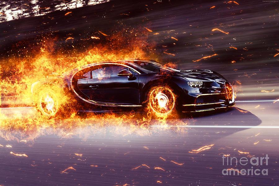 Bugatti Photograph   Bugatti Chiron Fire By Vadim Pavlov