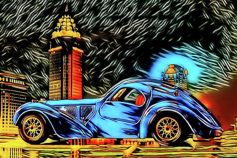 Atlantic Digital Art - Bugatti Type 57 Atlantic 1930ies by Jean-Louis Glineur alias DeVerviers