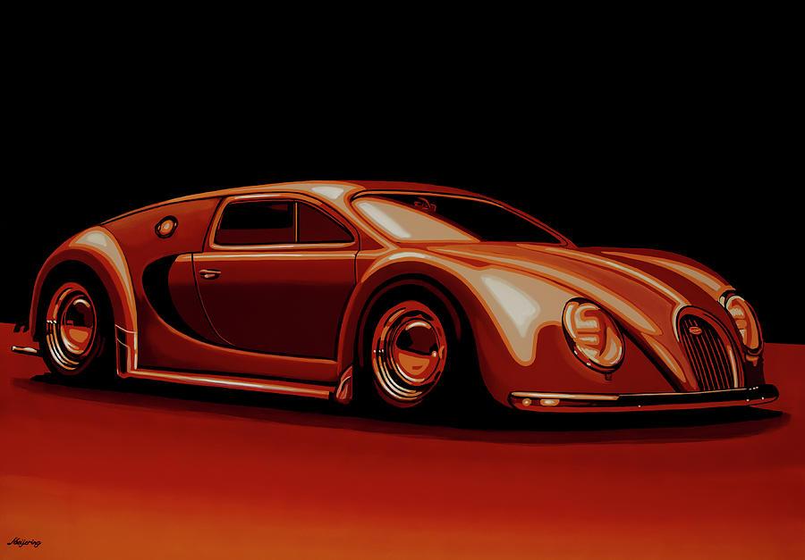 Bugatti Veyron Painting - Bugatti Veyron beetgatti 1945 Painting by Paul Meijering