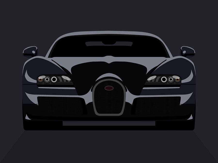 Bugatti Digital Art - Bugatti Veyron Dark by Michael Tompsett