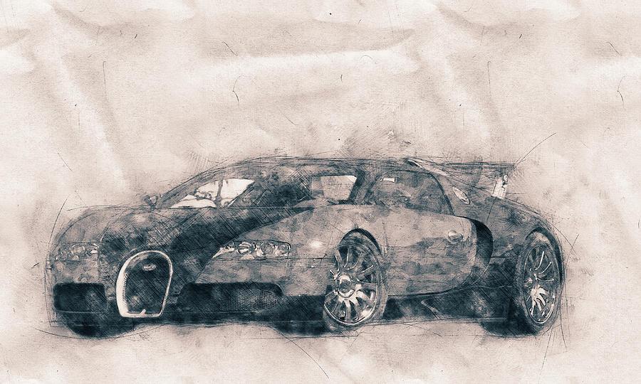 Bugatti Veyron Eb 16.4 - Sports Car - Automotive Art - Car Posters Mixed Media