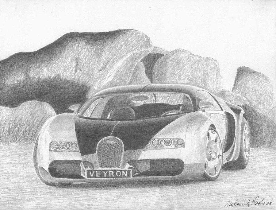 Bugatti Veyron Exotic Car Art Print Drawing By Stephen Rooks