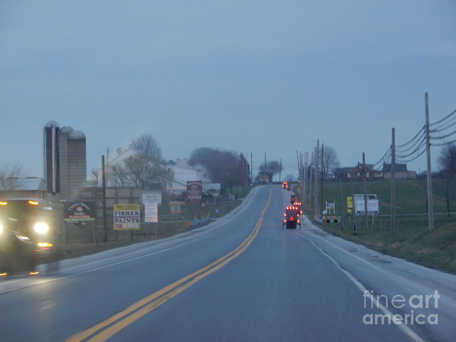 Amish Photograph - Buggies Travel In All Directions by Christine Clark