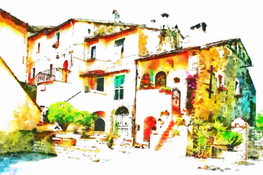 Foreshortening Painting - Buglimpse Of A Group Of Buildingsildings by Giuseppe Cocco