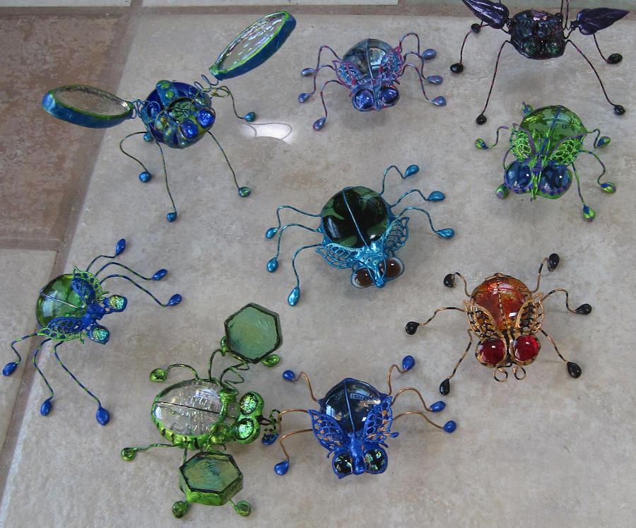 Stain Glass Sculpture - Bugs by Maxine Grossman