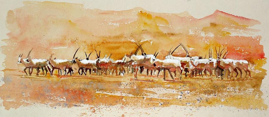 Arabian Oryx Painting - Buharan Oryx by Mike Shepley DA Edin
