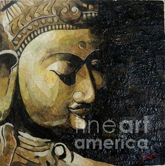Buddha Painting - Buhhda Face Leaf Painting by Le Dac Trung
