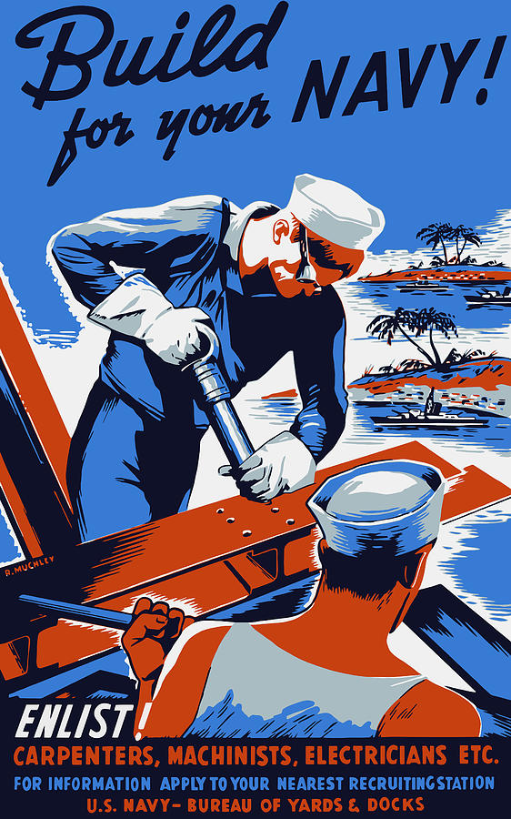 Build For Your Navy - Ww2 Painting