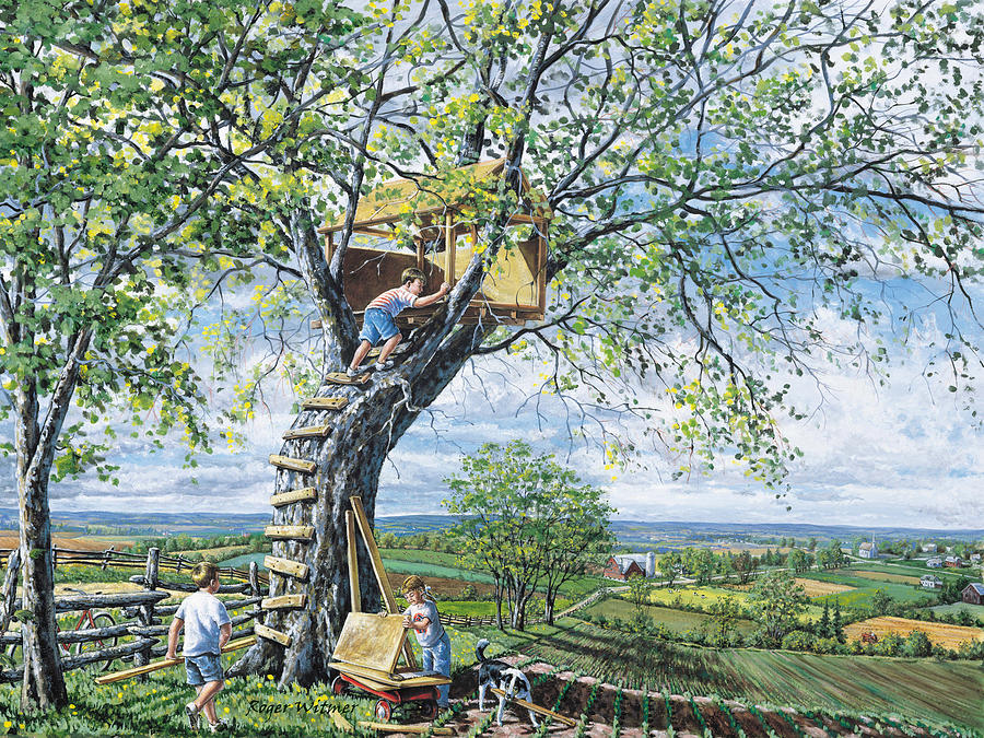 Tree House Painting - Building Memories by Roger Witmer
