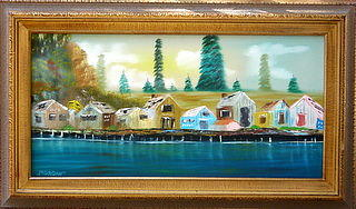 Landscape Painting - Buildings Along The Waterfront by Sheldon Morgan