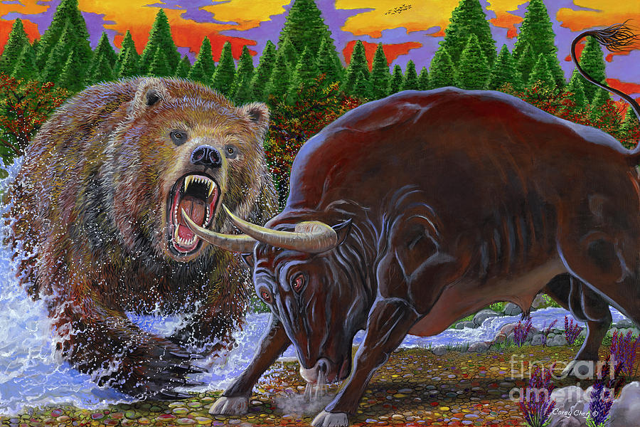 Bull And Bear Painting By Carey Chen