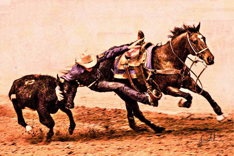 Bull Dogging Digital Art - Bull Doggin by Janice OConnor
