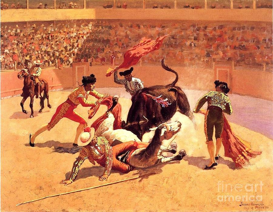 Bull Fight Painting - Bull Fight In Mexico by Roberto Prusso