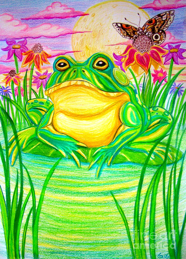 Bull Frog Drawing - Bull Frog And The Moon by Nick Gustafson