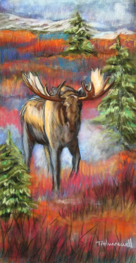Animal Artwork  Pastel - Bull Moose In Fall by Tracey Hunnewell