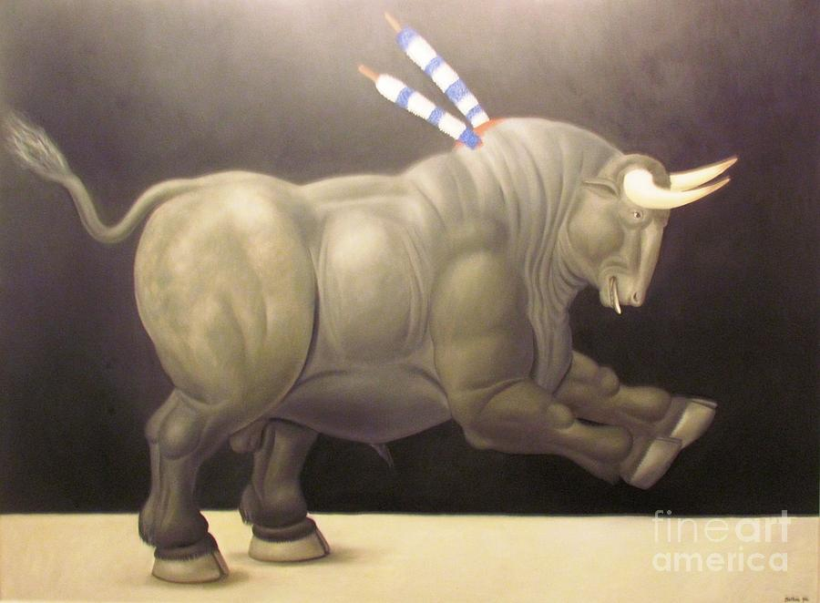 bull painting Botero by Ted Pollard