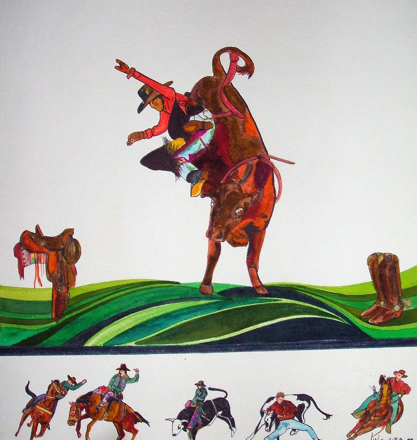Rodeo Painting - Bull Rider by Jamie Winter