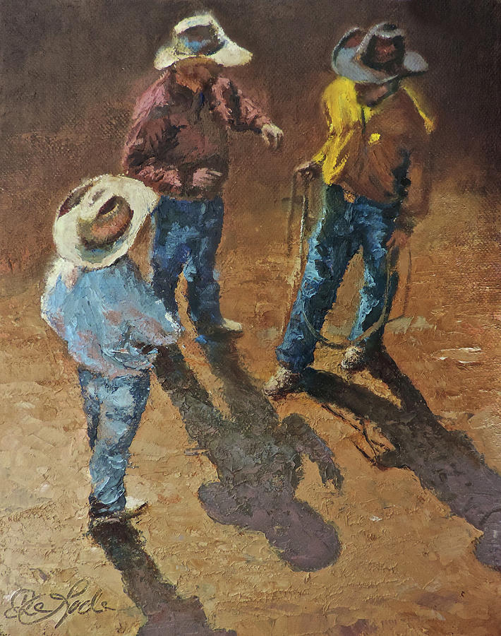 Cowboy Painting - Bull Session by Mia DeLode