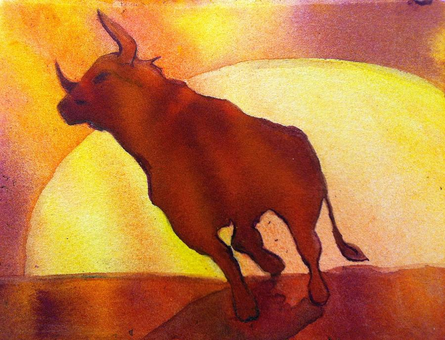 Bull Painting - Bull by Starr Weems